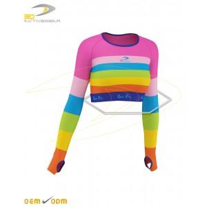 Rainbow long sleeve crop top